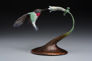 Bronze Ruby Throat Hummingbird Sculpture from CastArt Studios