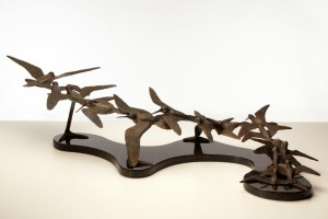 A picture of bronze birds